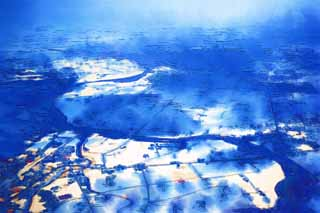 illustration,material,free,landscape,picture,painting,color pencil,crayon,drawing,The north earth, snow scene, The fields, cloud, Agriculture
