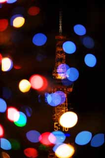 photo,material,free,landscape,picture,stock photo,Creative Commons,The television tower where light falls, X'mas, Illuminations, light, I am beautiful