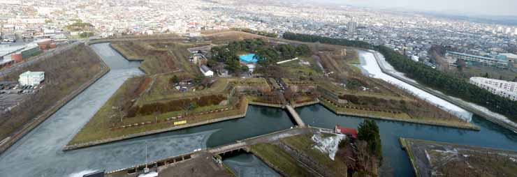 photo,material,free,landscape,picture,stock photo,Creative Commons,Goryokaku Fort whole view, moat, castle, The late Tokugawa period, The history