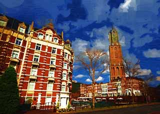 illustration,material,free,landscape,picture,painting,color pencil,crayon,drawing,Scenery of Huis Ten Bosch, cloud, blue sky, tower, hotel