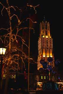 photo,material,free,landscape,picture,stock photo,Creative Commons,Night Huis Ten Bosch, tower, Illuminations, Illumination, light