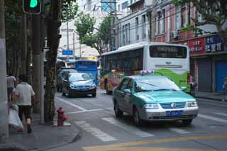 photo,material,free,landscape,picture,stock photo,Creative Commons,According to Shanghai, bus, taxi, Asphalt, passerby