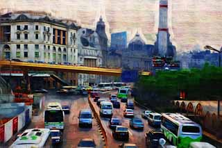 illustration,material,free,landscape,picture,painting,color pencil,crayon,drawing,According to Shanghai, bus, taxi, Asphalt, The Y tongue
