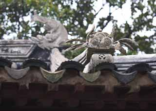 photo,material,free,landscape,picture,stock photo,Creative Commons,A roof decoration of Enkodo of Zhuozhengyuan, tile, roof, world heritage, garden