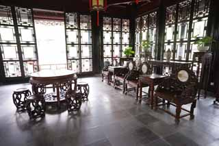 photo,material,free,landscape,picture,stock photo,Creative Commons,The room of Enkodo of Zhuozhengyuan, chair, , table, garden