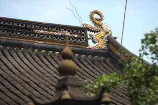 photo,material,free,landscape,picture,stock photo,Creative Commons,The roof of the mountain in winter temple, roof, tile, dragon, Yellow