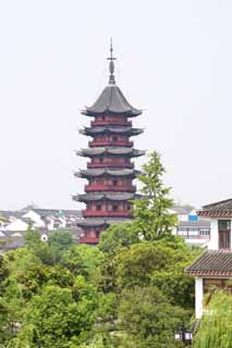 photo,material,free,landscape,picture,stock photo,Creative Commons,An auspicious light tower, Chinese style, roof, I am cinnabar red, tower for Taho-nyorai