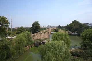 photo,material,free,landscape,picture,stock photo,Creative Commons,The Kure gate bridge, stone bridge, An arched bridge, canal, willow