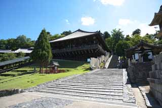 photo,material,free,landscape,picture,stock photo,Creative Commons,Look up at Nigatsu-do Hall, stone stairway, wooden building, Eaves, The water-drawing ceremony