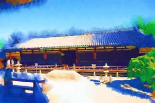 illustration,material,free,landscape,picture,painting,color pencil,crayon,drawing,Horyu-ji Temple reliquary hall / picture, Buddhism, reliquary hall, Picture, wooden building