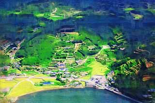 illustration,material,free,landscape,picture,painting,color pencil,crayon,drawing,A farm village of Nagasaki, The country, mandarin orange, The sea, Aerial photography
