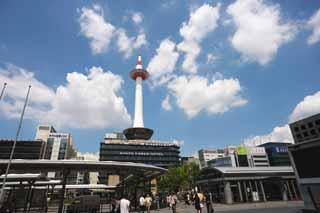 photo,material,free,landscape,picture,stock photo,Creative Commons,The Kyoto station square, blue sky, bus terminal, Kyoto Tower, cloud
