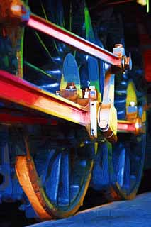 illustration,material,free,landscape,picture,painting,color pencil,crayon,drawing,Luster of the crank, steam locomotive, train, driving wheel, Iron