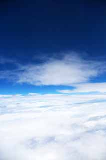 photo,material,free,landscape,picture,stock photo,Creative Commons,Stratospheric blue, sea of clouds, cloud, Sky, An airplane
