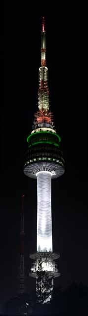 photo,material,free,landscape,picture,stock photo,Creative Commons,N Seoul tower, An electric wave tower, N Seoul tower, night view, White