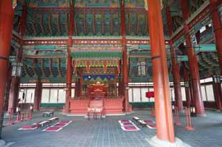 photo,material,free,landscape,picture,stock photo,Creative Commons,An Emperor's chair of Kunjongjon, wooden building, world heritage, King, cushion