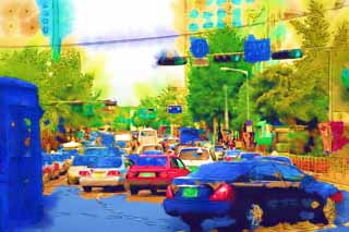 illustration,material,free,landscape,picture,painting,color pencil,crayon,drawing,A traffic jam, car, signal, crossing, Asphalt