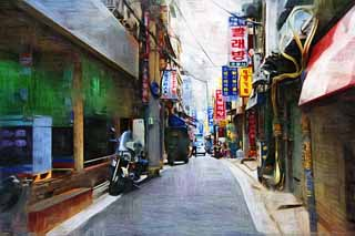 illustration,material,free,landscape,picture,painting,color pencil,crayon,drawing,A way of Seoul, An electric wire, motorcycle, tricycle, An alley