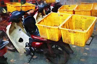 illustration,material,free,landscape,picture,painting,color pencil,crayon,drawing,The energy that I put in the carrier, motorcycle, motorcycle, Delivery, motorcycle