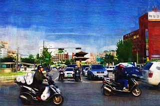 illustration,material,free,landscape,picture,painting,color pencil,crayon,drawing,Dongdaemun and traffic, The interest Hitoshi gate, signal, motorcycle, helmet