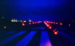 photo,material,free,landscape,picture,stock photo,Creative Commons,Midnight landing, lamplight, runway, blue,