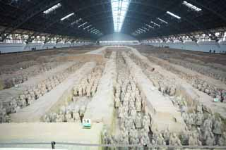 photo,material,free,landscape,picture,stock photo,Creative Commons,Terracotta Warriors in Pit No.1, Terra Cotta Warriors, Ancient people, Tomb, World Heritage