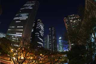 photo,material,free,landscape,picture,stock photo,Creative Commons,Shinjuku at night, High-rise, Subcenter, Tokyo Metropolitan Government, Building