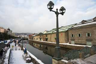 photo,material,free,landscape,picture,stock photo,Creative Commons,Otaru canal, Canal, Warehouse, Street lamp, Snow cover