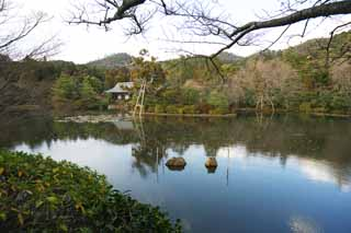 photo,material,free,landscape,picture,stock photo,Creative Commons,Problem mirror pond, World Heritage, Water surface, Nobleman's Village, Muromachi Shogunate