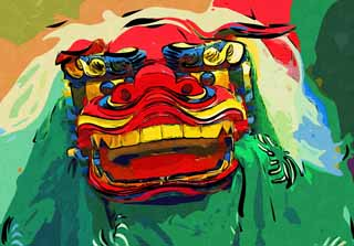 illustration,material,free,landscape,picture,painting,color pencil,crayon,drawing,Lion dance, New Year, SHISHIMAI, Traditional culture, Dance
