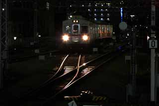photo,material,free,landscape,picture,stock photo,Creative Commons,The local train at night, Train, Line, Rail, Passenger