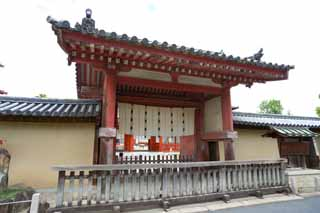 photo,material,free,landscape,picture,stock photo,Creative Commons,The Yakushi-ji Temple south gate, I am painted in red, The Buddha of Healing, Buddhist monastery, Chaitya