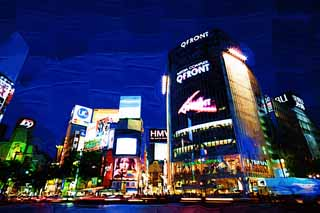 illustration,material,free,landscape,picture,painting,color pencil,crayon,drawing,Night of Shibuya, Downtown, QFRONT, Shibuya 109, Neon