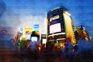 illustration,material,free,landscape,picture,painting,color pencil,crayon,drawing,The crossing of Shibuya Station, Downtown, walker, pedestrian crossing, crowd