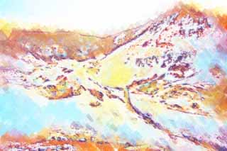 illustration,material,free,landscape,picture,painting,color pencil,crayon,drawing,Noboribetsu Onsen Hell Valley, hot spring, Sulfur, Terrestrial heat, volcano