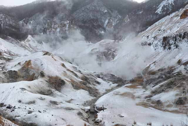 photo,material,free,landscape,picture,stock photo,Creative Commons,Noboribetsu Onsen Hell Valley, hot spring, Sulfur, Terrestrial heat, volcano