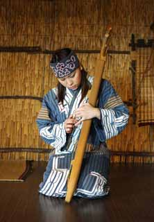 photo,material,free,landscape,picture,stock photo,Creative Commons,The woman who refuses ton stiffness, stringed instrument, Music, Folk costume, Ainu