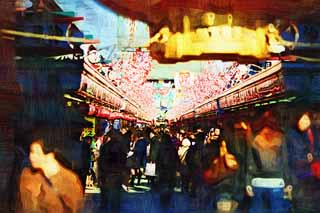 illustration,material,free,landscape,picture,painting,color pencil,crayon,drawing,The turnout of shops lining a passageway, tourist, Senso-ji Temple, Asakusa, lantern