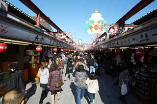 photo,material,free,landscape,picture,stock photo,Creative Commons,The turnout of shops lining a passageway, tourist, Senso-ji Temple, Asakusa, New Year holidays decoration