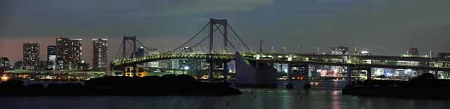 photo,material,free,landscape,picture,stock photo,Creative Commons,A night view of Odaiba, bridge, jewel, date course, seaside newly developed city center