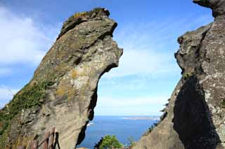 photo,material,free,landscape,picture,stock photo,Creative Commons,The huge stone of the Shiroyama Hiji peak, seongsan ilchulbong, Cliff, volcanic island, beauty spot