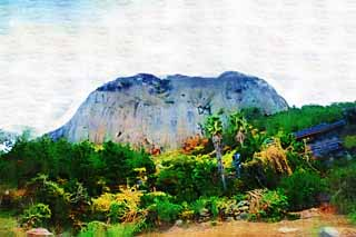 illustration,material,free,landscape,picture,painting,color pencil,crayon,drawing,Sanbanggul temple, rocky mountain, Chaitya, Volcanic activity, cliff