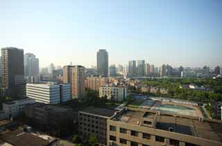 photo,material,free,landscape,picture,stock photo,Creative Commons,Morning of Shanghai, building, The morning sun, residential area, truck