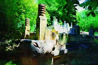 illustration,material,free,landscape,picture,painting,color pencil,crayon,drawing,Ming Xiaoling Mausoleum Toru foundation stone, Tomorrow morning, stone pillar, The first emperor, world heritage