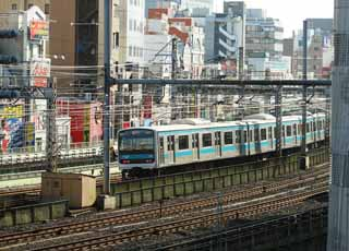 photo,material,free,landscape,picture,stock photo,Creative Commons,Keihintouhoku Line, vehicle, commuter train, 6 door vehicles, blue line
