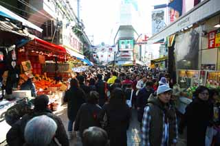 photo,material,free,landscape,picture,stock photo,Creative Commons,Ameyoko-cho Arcade, national flag, crowd, Shopping, Good bargain