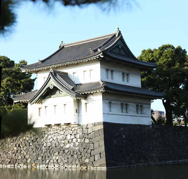 photo,material,free,landscape,picture,stock photo,Creative Commons,The moat of the Imperial Palace, Edo-jo Castle, , Defense, An office town