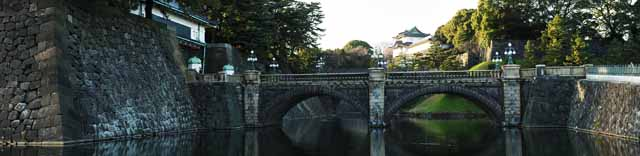 photo,material,free,landscape,picture,stock photo,Creative Commons,Imperial Palace Niju-bashi Bridge, moat, palace, The Emperor, Edo-jo Castle