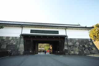 photo,material,free,landscape,picture,stock photo,Creative Commons,Imperial Palace Sakurada-mon Gate, Ishigaki, palace, Watari passage under a turret, Edo-jo Castle