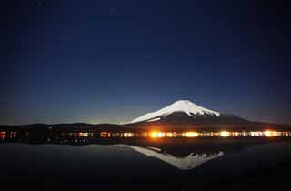 photo,material,free,landscape,picture,stock photo,Creative Commons,Mt. Fuji, Fujiyama, The snowy mountains, surface of a lake, Starlit sky